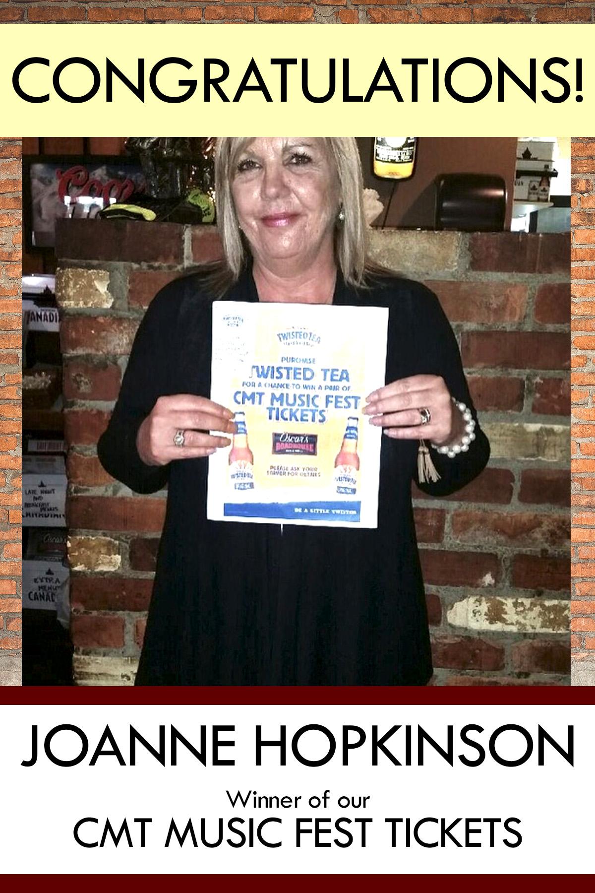 Congratulations Joanne Hopkinsons